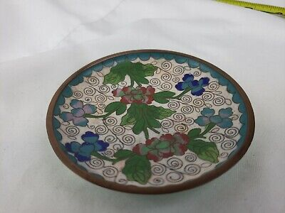 Nice old chinese cloisonne plate 3 1/2""