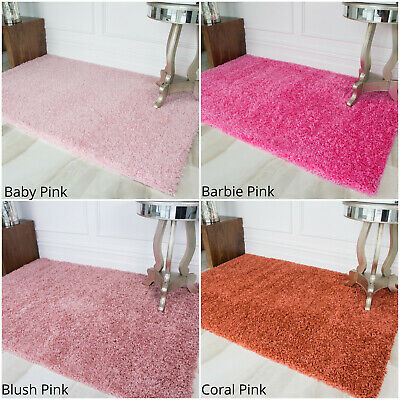 Cosy Pink Thick Shaggy area Rugs Soft Warm Non Shed Deep Small Large Bedroom Mat