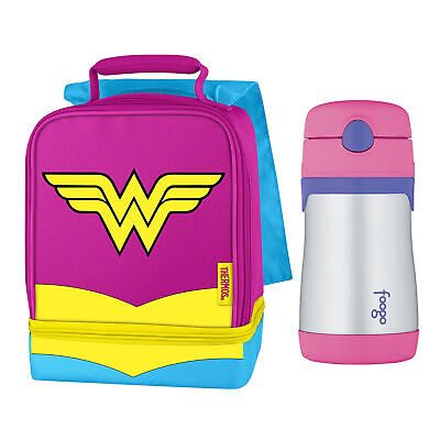 Thermos Dual Compartment Lunch Kit with 10-Ounce Straw Bottle (Wonder Woman)