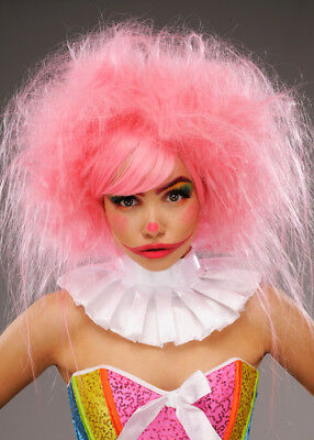 Womens Deluxe Baby Pink Clown Wig
