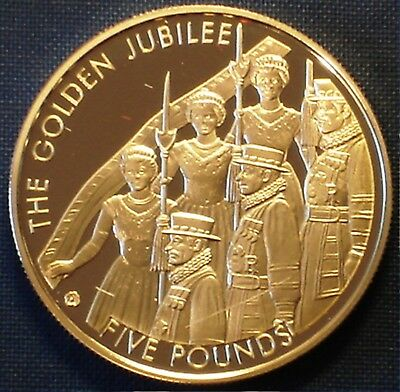 Jersey 5£ Gold Plated Silver Proof 2002 QEII Golden Jubilee - 50 Years of Reign