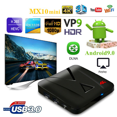 Smart Tv Box Mx10 Mx12 Mini Ram 4Gb Android 9 Pie 32Gb Wifi Rk3328 Mali-450 Usb3