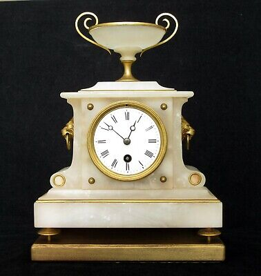 Antique French Onyx Mantel Clock Lion Mask Handles Onyx Chalice, 19Th C, Working