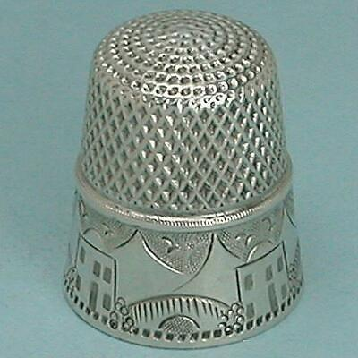 Antique Sterling Silver Landscape Thimble by Stern Bros. * Circa 1890s