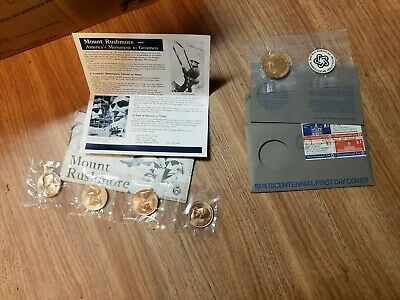 1974 Bicentennial first day cover AND Presidential miniature medals set