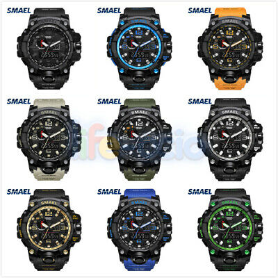 SMAEL Men's Watches Dual Time Camouflage Sport Watch Army LED Digital Watch