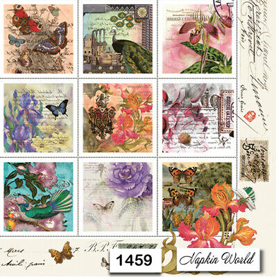 (1459) TWO Individual Paper Luncheon Decoupage Napkins - VINTAGE STAMPS COLLAGE