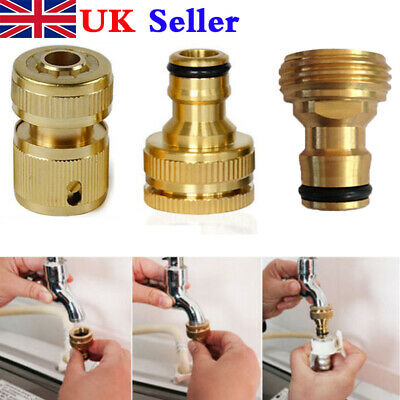 Indoor Kitchen Brass Mixer Tap Hose Pipe Connector Copper Fitting Quick UK W