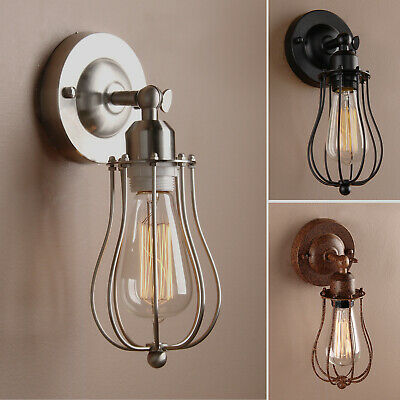Retro Industrial Cage Sconce Antique Filament Iron Hand Made Edison Wall Light