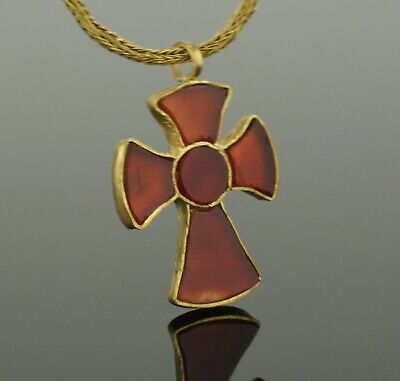 LOVELY ANCIENT ROMAN GOLD & CARNELIAN CROSS CIRCA - 4th/5th Century AD