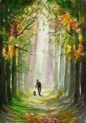 ACEO Autumn walk road painting original Fall tree landscape watercolour art card