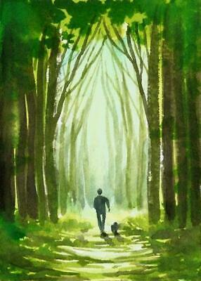 ACEO Wood green road walk dog painting original landscape watercolour art card