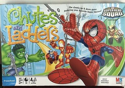 Milton Bradley MARVEL Super Hero Squad CHUTES AND LADDERS Board Game /incomplete