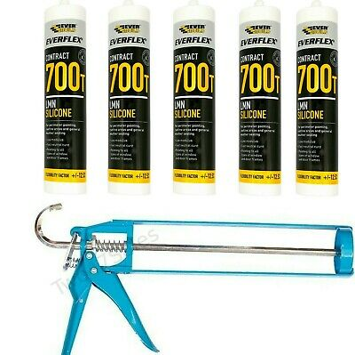 Silicone Sealant + Gun Window Mastic External Adhesive Skeleton Tube Everbuild
