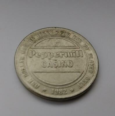 Vtg 1982 Peppermill Hotel Casino -- Reno, Nevada -- $1 Token Coin Metal Rare