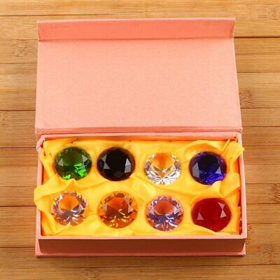 8 Crystal Diamond Cut Multi Colour Glass Gem Stones Paperweight Gift 30mm