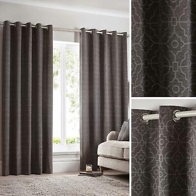 Grey Eyelet Curtains Geometric Trellis Modern Ready Made Lined Ring Top Pairs