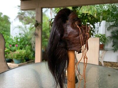 Dark Haired With Chonta Spiked Jivaro Shrunken Head -Tsantsa