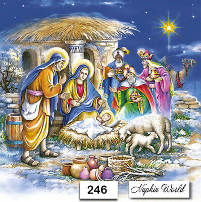 (246) TWO Individual Paper Luncheon Decoupage Napkins - NATIVITY JESUS CHRISTMAS