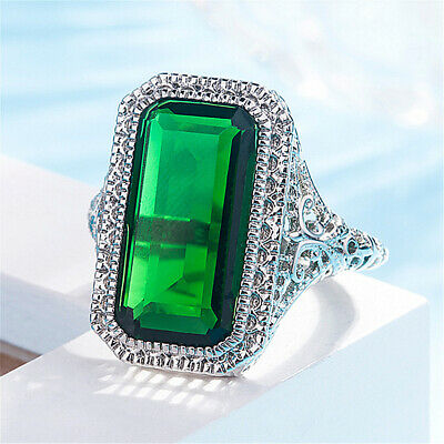 Woman Man Silver Filled Emerald Simnlation Party Ring Best Gift Size 6-10