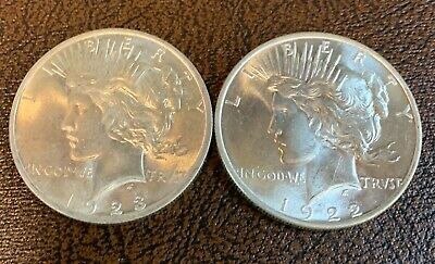 PAIR BU $1 1922 & 1923 Peace Silver Dollars Unc MS 90% 2 Coin Collection Lot