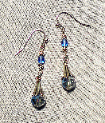 Antiqued Silver Tone Helio Blue Crystal Fairy Bell Glass Earrings Victorian Ab