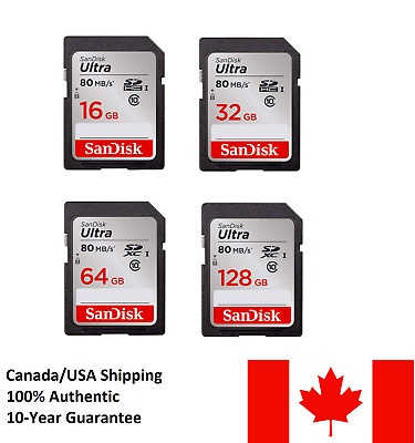 SanDisk 16 32 64 128GB SD Card 80MB/S High Speed Class10 SDHC Camera Memory Card