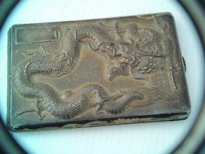 Antique Chinese Export Sterling Silver Cigarette Case High Relief Dragon Gorgeou