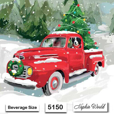 (5150) TWO Individual Paper BEVERAGE Size Decoupage Napkins - CHRISTMAS TRUCK