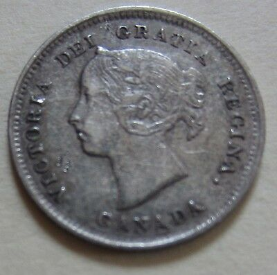 1888 Canada Silver Five Cents Coin. VF NICE GRADE (UJ14)