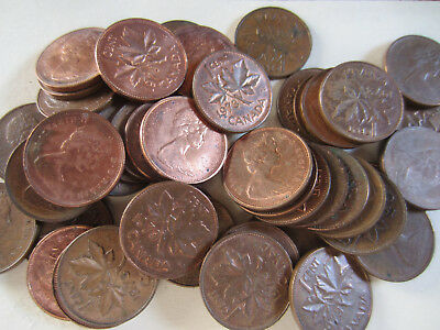 UNC RED 50 Coins Roll of 1964 Canada Small Cents