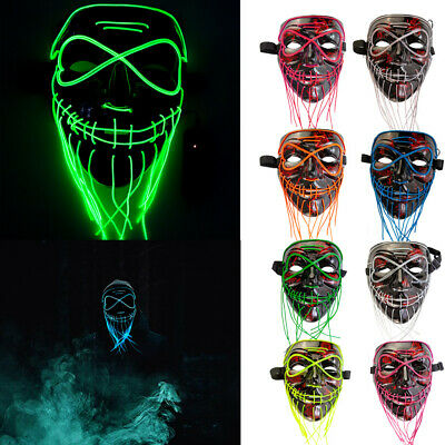Light Up Stitches LED Mask Costume Halloween Rave Cosplay Party Tailorable Beard