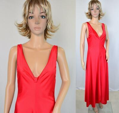 VTG 70s 80s Vanity Fair Red Nylon Plunging Deep V Flowy Maxi Nightgown XS
