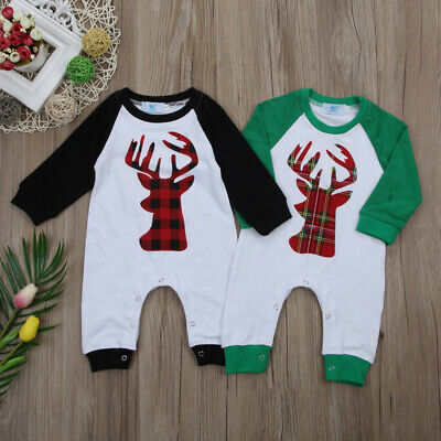 Christmas Newborn Baby Girl Boy Romper Bodysuit Jumpsuit Outfit Clothes 0-18M US
