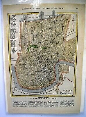 1908 GAZETTEER ~ MAP of CITY of NEW ORLEANS & SOUTHERN MANHATTAN NEW YORK CITY