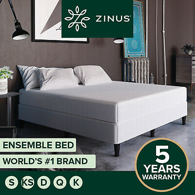 Zinus Queen Double King Single Standing Fabric Bed Mattress Ensemble Base Frame