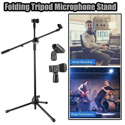 Microphone Boom Stand 2 Mic Clips Holder Studio Arm Adjustable Foldable Tripod