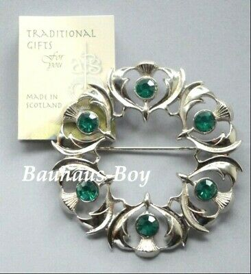 Art Pewter PLAID BROOCH THISTLE 6 FAUX EMERALD GREEN STONES MADE IN SCOTLAND NEW