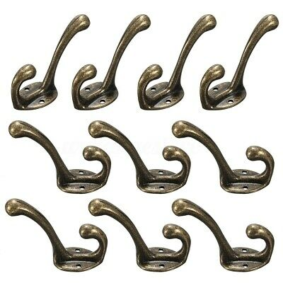 10PCS Coat Hooks Classic Vintage Alloy Rack Clothes Hooks Hanging Bronze Holder