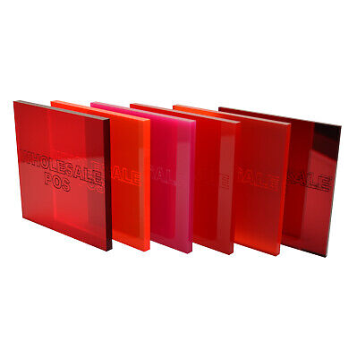 Red and Pink Colour, Tinted & Mirror Perspex Acrylic Sheets - 3mm & 5mm Thick