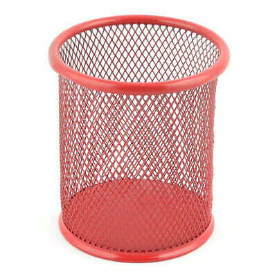"""Home   Office Metal Round Shaped Pens Pencil Container Holder Red 4"""" Height"""
