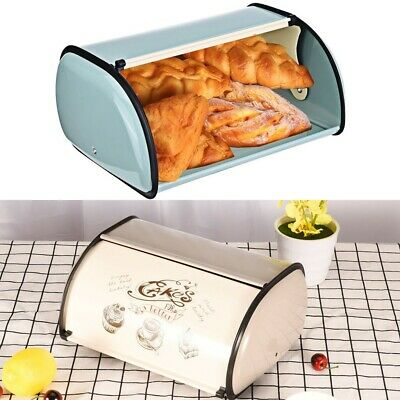 French Retro Metal Bread Box Bin Cafe Kitchen Storage Containers W/Roll Top Lid