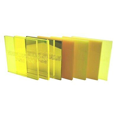 Yellow Colour, Tint & Mirror Perspex Acrylic Plastic Sheets 3mm & 5mm Thickness