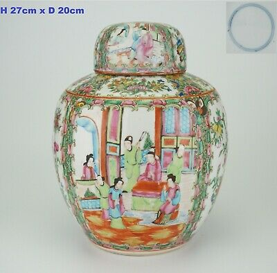 LARGE Antique Chinese Canton Famille Rose Porcelain Vase Ginger Jar & Lid 19th C