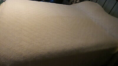"""Antique Hand-Made CROCHETED BEDSPREAD, 92""""X70"""", Cream, Good Condition, Beautiful"""