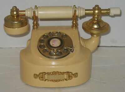 Vintage Yellow Tan & Brass Western Electric Rotary Dial Desk Phone Prop Display