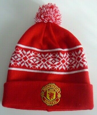 Manchester United Red Snowflake Pom Pom Bobble Hat