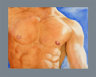 watercolor NUDE Male painting THINK CALIFORNIA 2/16/50 Realism FREE SHIP