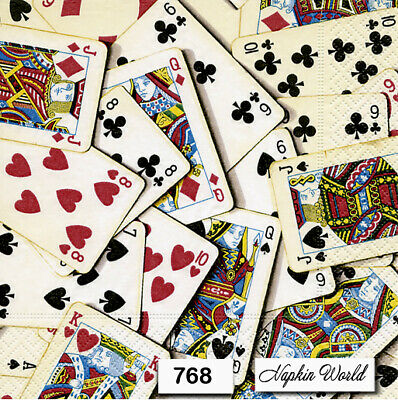(768) TWO Individual Paper Luncheon Decoupage Napkins - PLAYING CARDS DECK SKAT