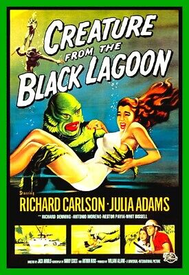 """4.75"""" classic Creature From the Black Lagoon vinyl sticker. Movie monster decal."""